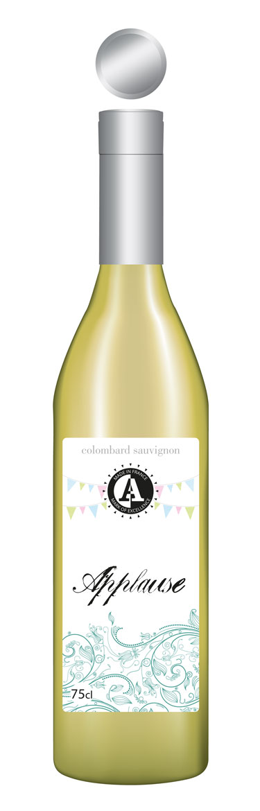 Applause white wine label floral sample