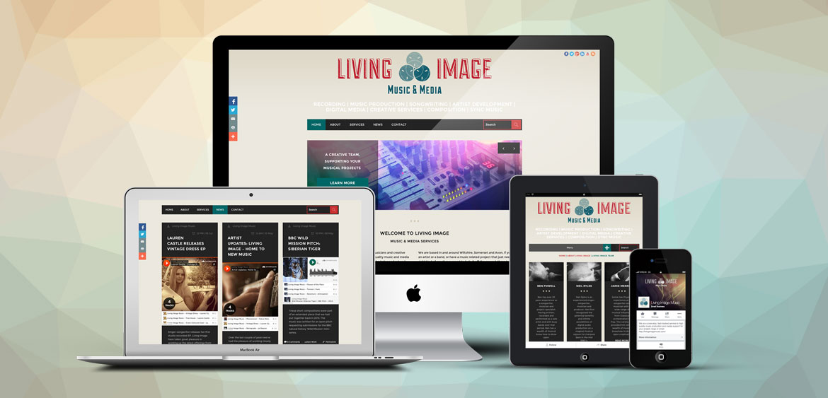 Living Image Music website samples on various devices