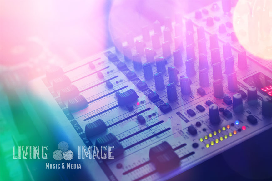 Mixing desk brand imagery